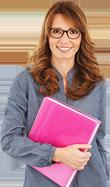 teacher holding file