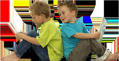 children sat reading
